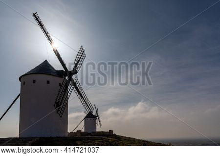 The Windmills Of La Mancha In The Hills Above San Juan De Alcazar