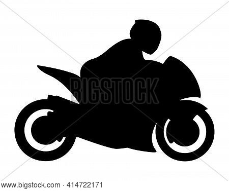 Super Sport Bike Motorcycle With Rider Silhouette Isolated Vector Illustration
