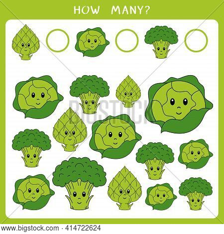 Educational Math Game For Kids. Count How Many Broccoli, Cabbage And Artichoke And Write The Result.