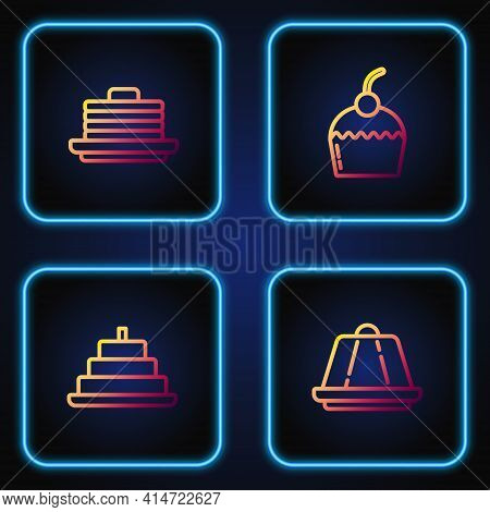 Set Line Pudding Custard, Cake With Burning Candles, Stack Of Pancakes And . Gradient Color Icons. V