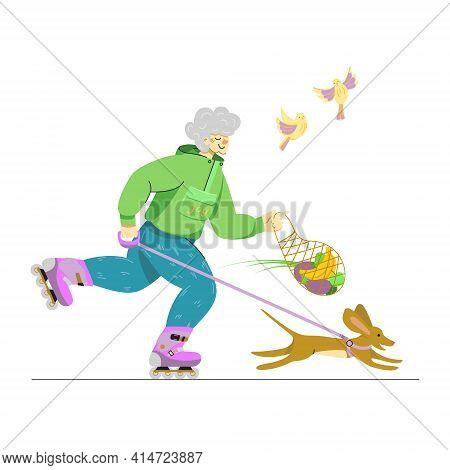 A Vector Image Of An Elderly Happy Lady Rollerskating For Her Leisure Time. Smiling Senior Woman On