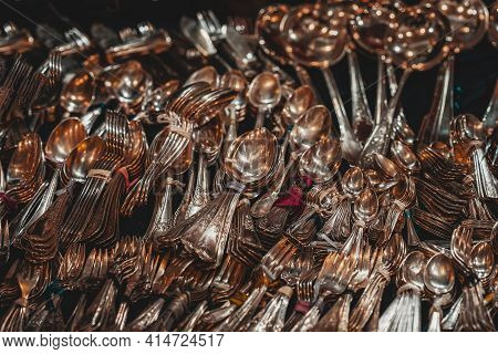 Vintage Tablespoons And Teaspoons Of Gold Silverware