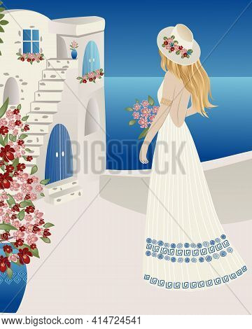 Poster , Lovely Girl In White Dress And Hat In Old Towns In Santorini, Spain, Greece And Italy In Bl