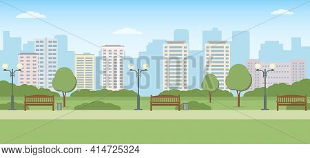 Empty City Park With Trees, Benches And Lawn. Summer Landscape. Panoramic View. Vector Illustration.