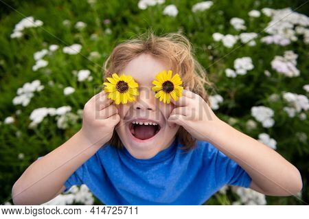 Funny Boy Kid And Daisies. Happy Little Blond Hair Child With Flowers Eyes On The Grass With Daisies