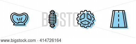 Set Line Bicycle Sprocket Crank, Punctured Tire, Suspension And Lane Icon. Vector