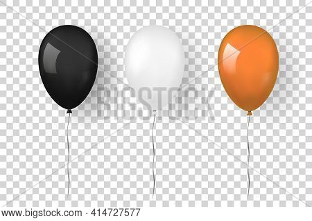 Balloon 3d Icon Set Isolated White Transparent Background. Baloon Mockup Halloween Party Celebration