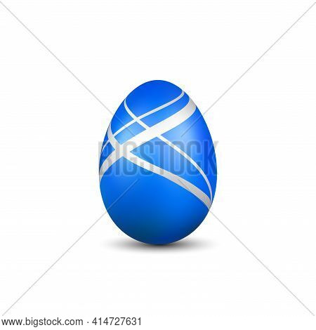 Easter Egg 3d Icon. Blue Egg Isolated White Background. Golden Design Template, Decoration Happy Eas