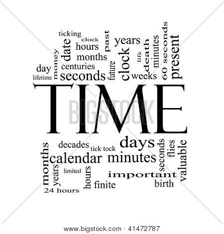 Time Word Cloud Concept In Black And White