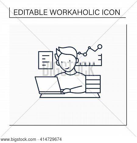 Workaholic Line Icon.prevalence Workaholism Statistics. People Number Dependent On Work. Man At Lapt