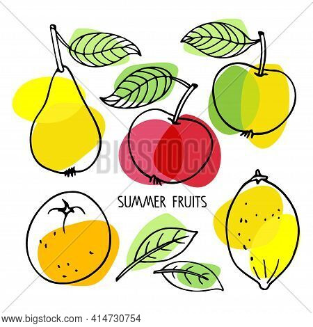 Summer Fruit Collection. Lemon, Tangerine, Apples, Pear, Leaves. Hand Drawn Sketch With Bright Yello