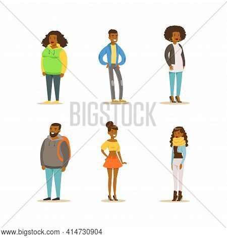 Cheerful African American People Set. Full Length Portraits Of Men And Women Dressed Casual Clothes