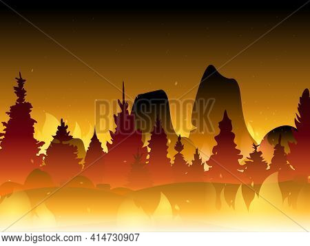 Fire In Forest Flat Vector Illustration. Wildfire Background. Burning Forest Vector Horizontal Banne