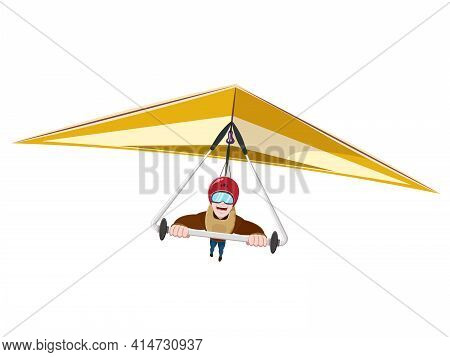 Hang Gliding Character. Extreme Sport Screaming Feeling Scared Flat Style Concept Vector Illustratio