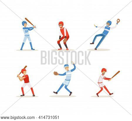 Baseball Players Set, Cheerful Softball Athletes Characters In Uniform In Different Poses Cartoon Ve