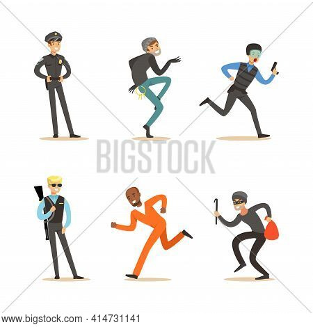 Criminal Characters Set, Robbers Running Away From Policeman Cartoon Vector Illustration
