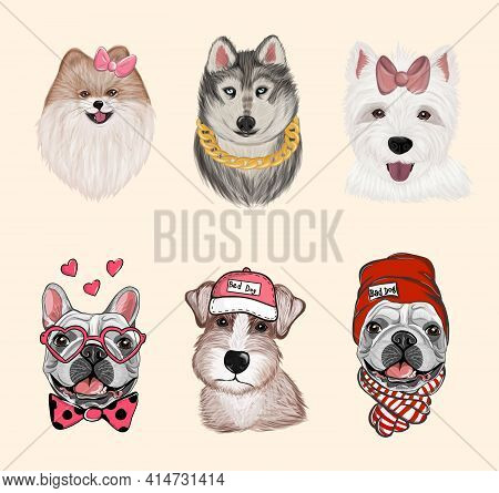 Dogs Cartoon Heads Face Emoticons For T Shirts Design, Logo, Banners Vector Set. Collection Differen
