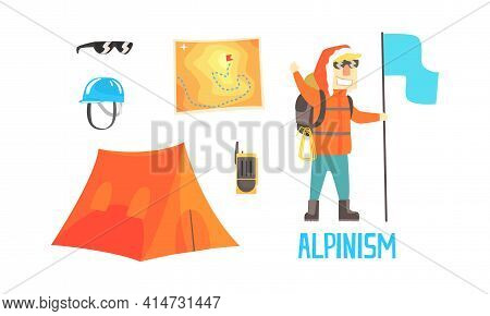 Mountain Climber And Equipment For Climbing And Hiking Set, Mountaineering Adventure, Alpinism Carto