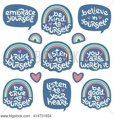 Set Of Positive Thinking Quotes Promoting Self Worth And Self Care