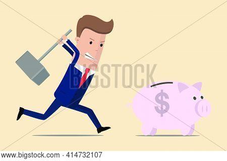 Businessman Running To Piggy Bank With Hammer. Businessman Try To Brake Piggy Bank. Vector Illustrat