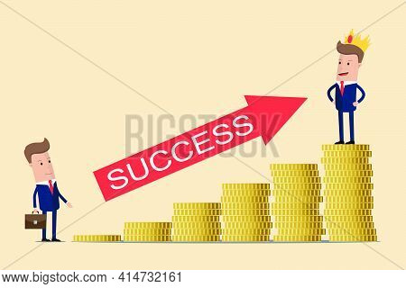 Business Concept Of Career Growth. Vector Illustration