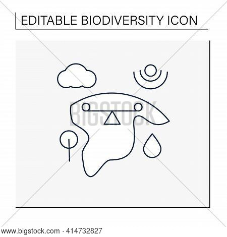 Ecosystem Balance Line Icon.requires Sustainable Interdependence Of Plants, Animals, Organism With N