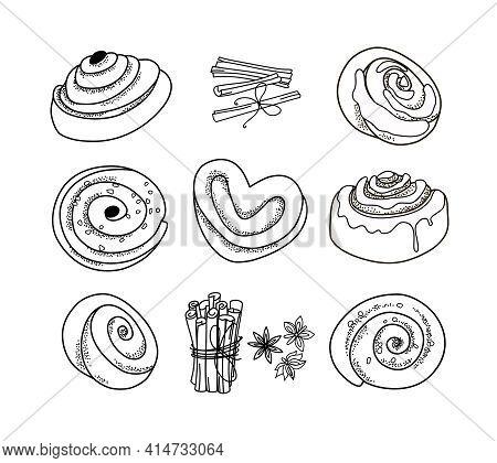 Set Of Outline Cinnamon Buns. Vector Illustration