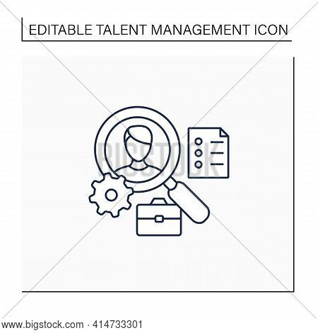 Applicant Tracking Line Icon.software App Automates Hiring Process. Candidate Management System. Fin
