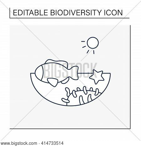 Coral Reef Line Icon. Underwater Ecosystem Characterized By Reef-building Corals. Living Place For S