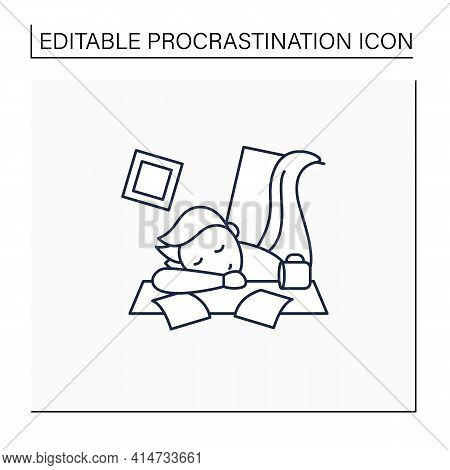 Mess Line Icon. Chaos In House. Laziness. Person Sleep On Desk. Procrastination Concept. Isolated Ve