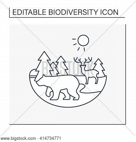 Taiga Forest Line Icon. Boreal Forest Or The Coniferous Forest. Living Place For Dangerous And Wild