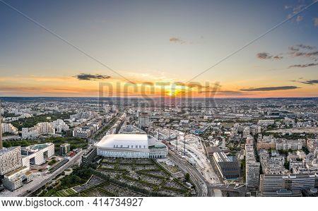 Paris, France - Jun 20, 2020: Aerial Drone Shot Of Graveyard In La Defense