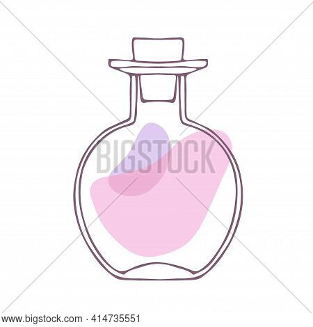 Perfume Bottle, Glass Bottle. Vector Sketch Isolated On White Backgroung. Cosmetic, Perfume, Aromath