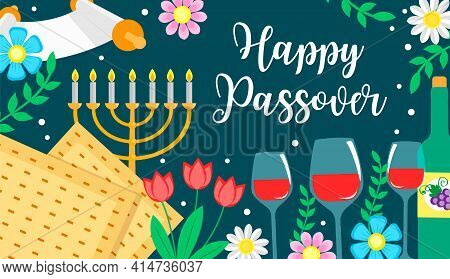 Jewish Holiday Passover Banner Design With Floral Decoration, Happy Passover Greeting Card. Pesach C