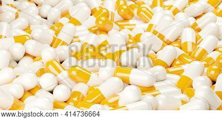 Yellow And White Pill Capsules Heap Frame Filling Background, Medical Treatment, Pharmaceutical Or M