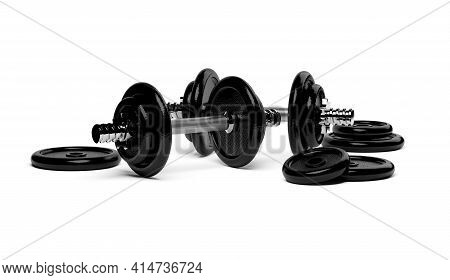 Two Fitness Gym Dumbbells With Chrome Handle And Black Plates Stacked In Front Over White Background