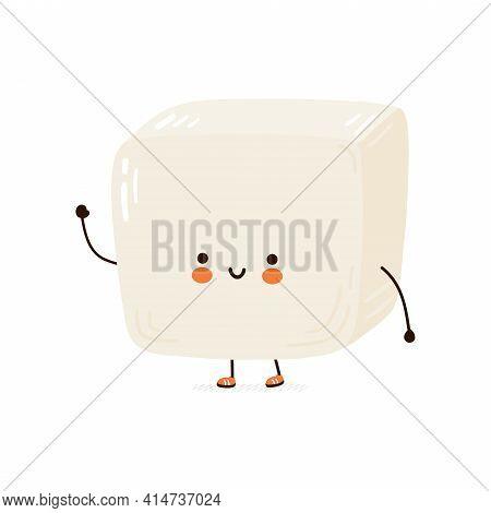 Cute Funny Tofu Character. Vector Hand Drawn Cartoon Kawaii Character Illustration Icon. Isolated On