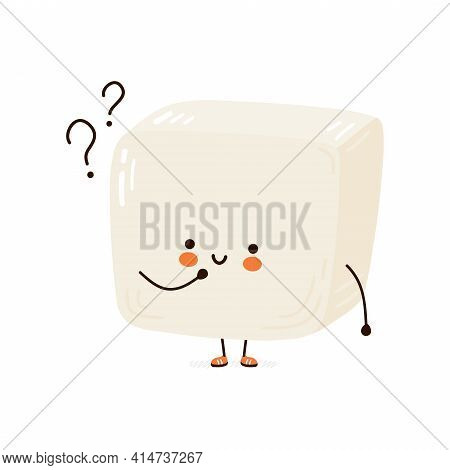 Cute Funny Tofu With Question Marks. Vector Hand Drawn Cartoon Kawaii Character Illustration Icon. I