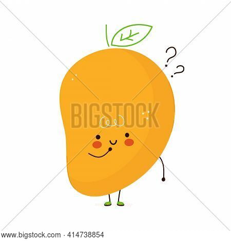 Cute Funny Mango Fruit With Question Marks. Vector Hand Drawn Cartoon Kawaii Character Illustration