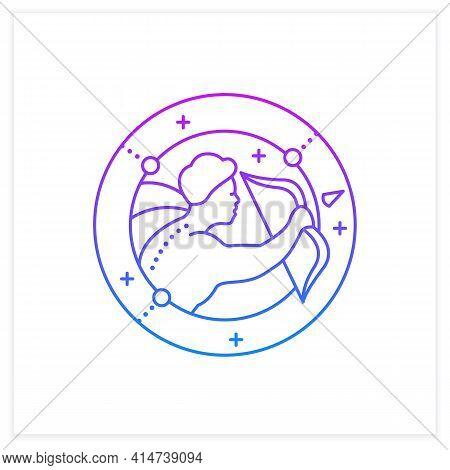 Sagittarius Gradient Icon. Ninth Fire Sign In Zodiac. Shooter Birth Symbol. Mystic Horoscope Sign. A