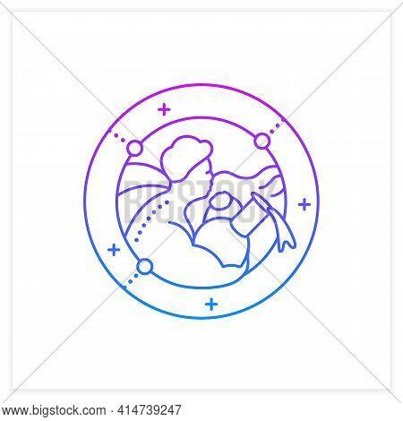 Aquarius Gradient Icon.eleventh Fire Sign In Zodiac.water Bearer Birth Symbol.mystic Horoscope Sign.