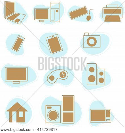 Electronic Technic Icons Set. Vector Graphics. Pc And Components. Technic For Home