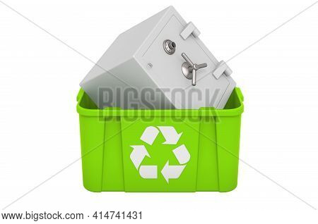 Recycling Trashcan With Safe Box Combination, 3d Rendering Isolated On White Background