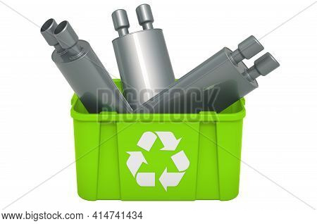Recycling Trashcan With Car Exhaust Pipe, 3d Rendering Isolated On White Background