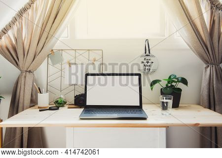 Modern Workplace - Wooden Desk With Laptop Mockup White Empty Screen, Mood Board With Pined Notes, G