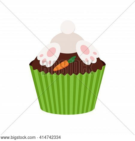 Easter Cupcake With Bunny Booty And Carrot Isolated On White Background.