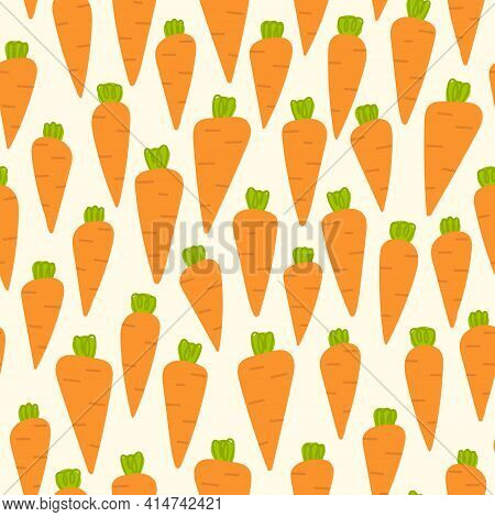 Carrot Seamless Pattern. Cute Easter Background: Hand Drawn Carrots For Bunnies.