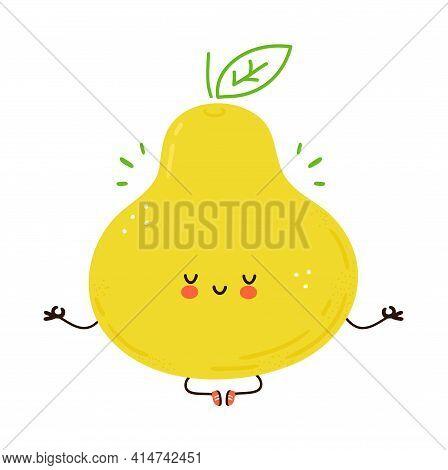 Cute Funny Pear Fruit Meditate In Yoga Pose. Vector Hand Drawn Cartoon Kawaii Character Illustration