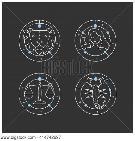 Zodiac Chalk Icons Set. Fourth Fire Signs In Zodiac. Birth Symbols. Leo, Virgo, Scorpio, Libra. Myst