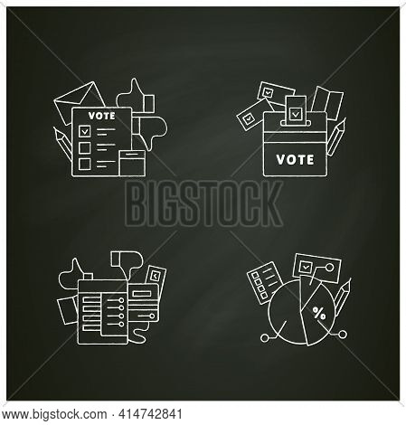 Election Chalk Icons Set.election Box, Voting Machine, Voting Poll. Choice, Vote Concept. Democracy.